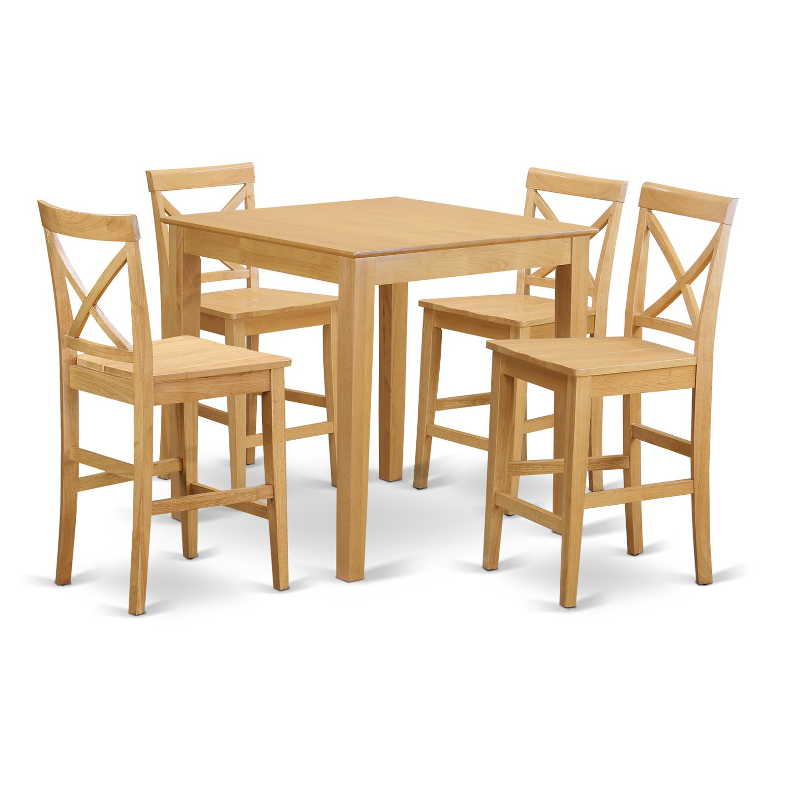 East West Furniture Pub 5 Piece High Cross Dining Table Set
