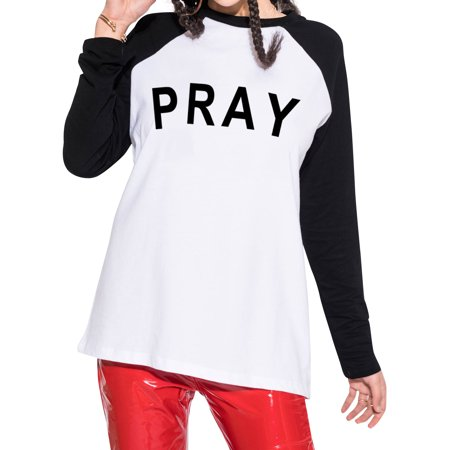 (Martlowile Women PRAY Letter Printed Raglan Sleeve Color Block Shirts)
