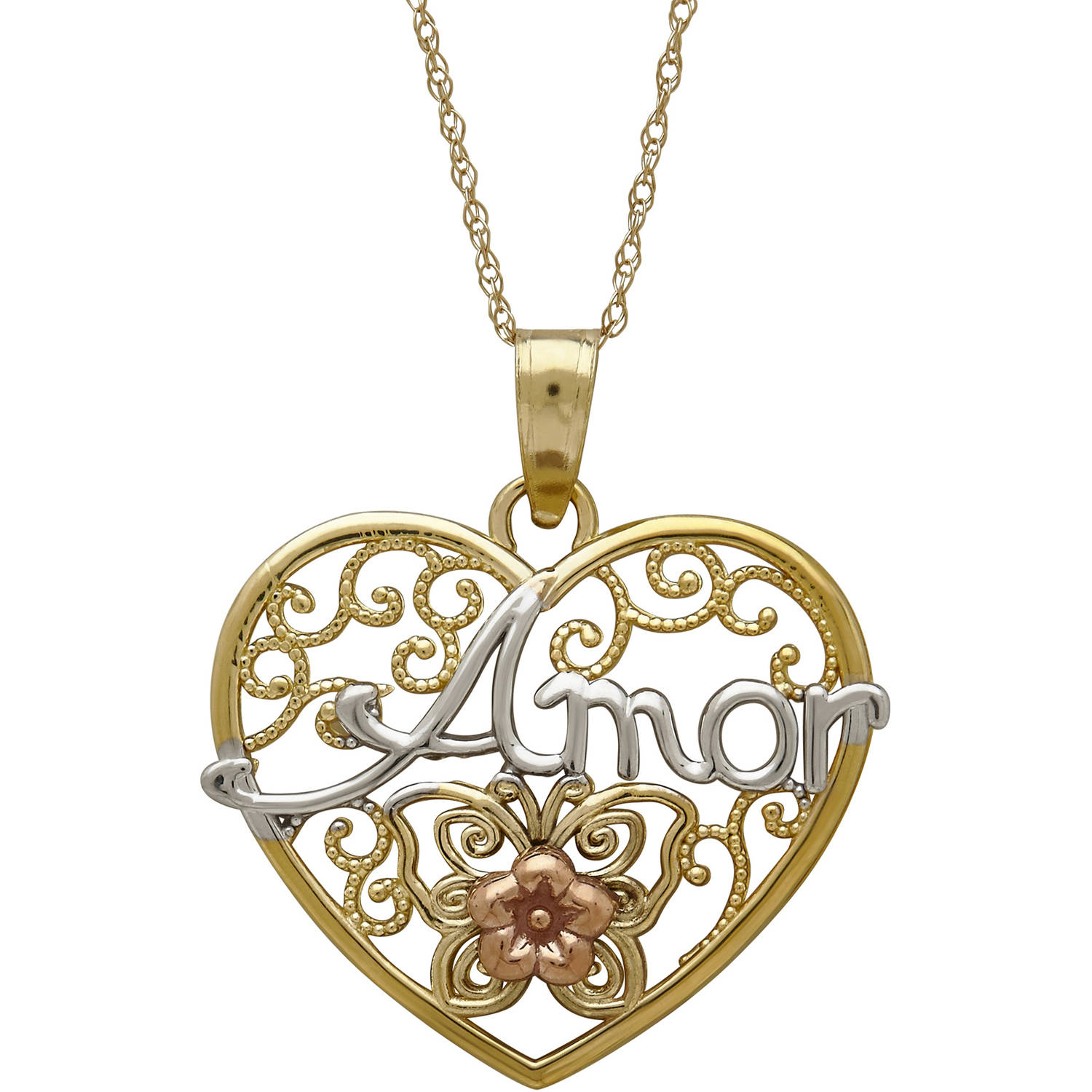 """Simply Gold Precious Sentiments 10kt Yellow, White and Pink Gold Filigree Heart with """"Amor"""" (Love) and Flower... by Richline Group Inc"""