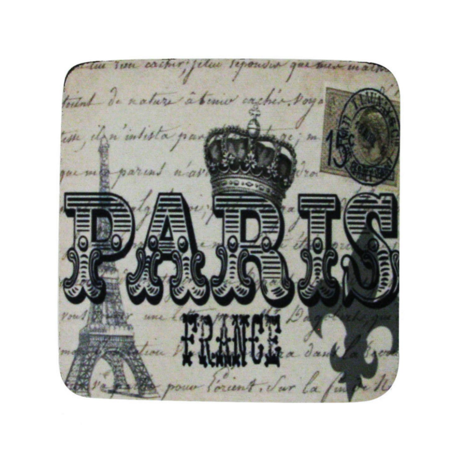 Pack of 8 Absorbent Paris France Antique Style Print Cocktail Drink Coasters 4""
