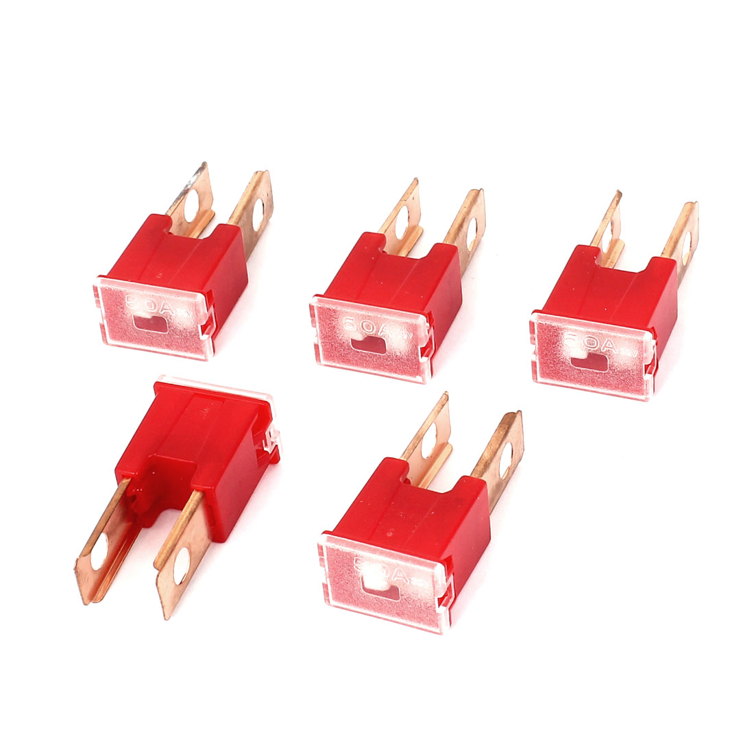 Car Auto 50A Amp 32V Pacific Type Male PAL Slow Blow Fuse Red 5 Pcs