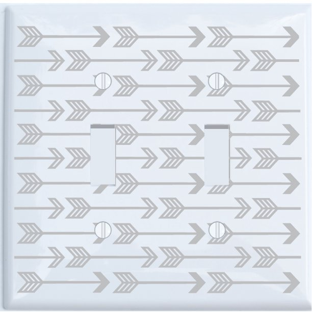 Double Toggle Grey Arrow Print Light Switch Plate And Outlet Covers Grey Woodland Nursery Decor For Baby Boys Or Girls Double Toggle Walmart Com Walmart Com