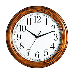 "Realspace™ Solid Wood Case Round Quartz Wall Clock, 12"", Honey Pine"