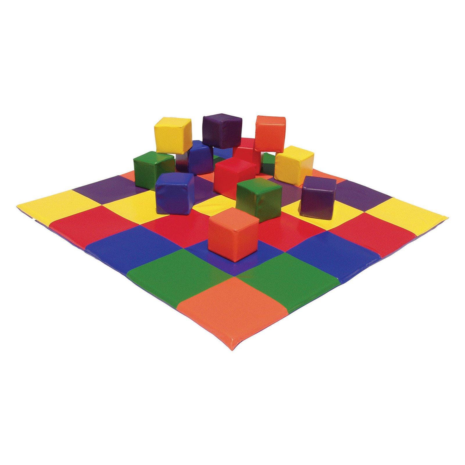 ECR4KIDS Patchwork Toddler Mat and Toddler Blocks Soft Play