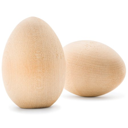 Display Wooden Crate (Unpainted Wooden Goose Eggs  For Easter, Crafts, and Displays  3-1/4