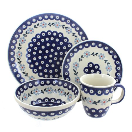 Polish Pottery Blue Violet 4 Piece Dinner Set