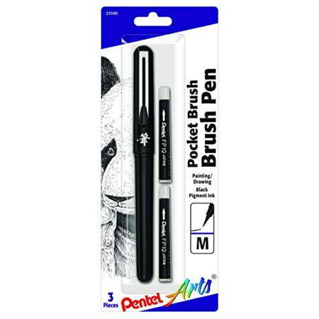 Pentel Arts Pocket Brush Pen, Includes 2 Black Ink Refills (GFKP3BPA) (Pen Pocket Dakine)