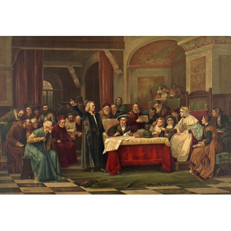Christopher Columbus 1451-1506 At The Spanish Court Requesting Financial Support From Queen Isabella And King Ferdinand For His Trip To The New World Stretched Canvas - Ken Welsh  Design Pics (36 x