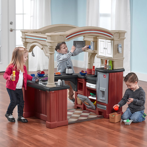 Step2 Grand Walk-In Kitchen Play Kitchen with 103-piece Play Food Accessory Set by Step2