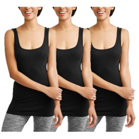 Women's Rib Tank Top, 3 Pack (Solid Ribbed Tank)