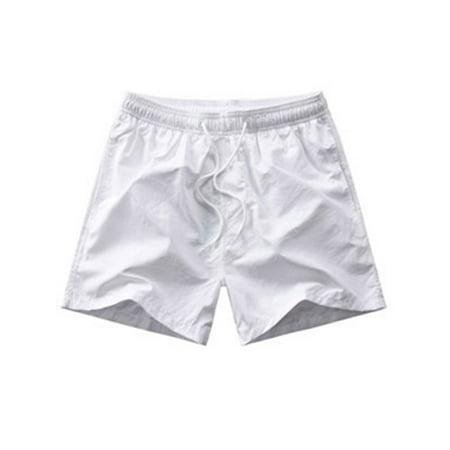 Plus Size Mens Drawstring Elastic Waist Casual Boys Loose Summer Beach Holiday Shorts Plain Short Mini Shorts Hot Pant White XL