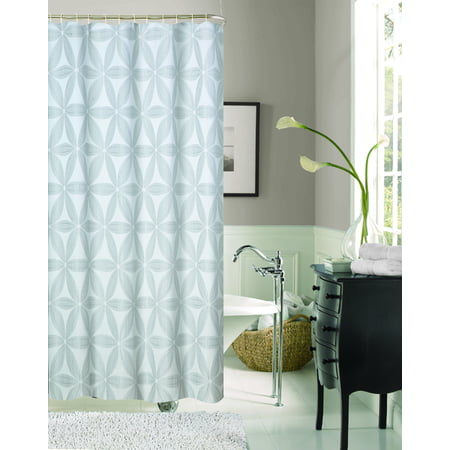 Dainty Home Iris Textured Printed Fabric Shower Curtain