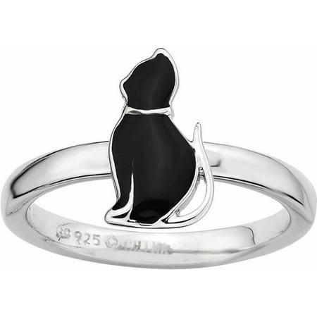 Sterling Silver Black Enameled Cat Ring
