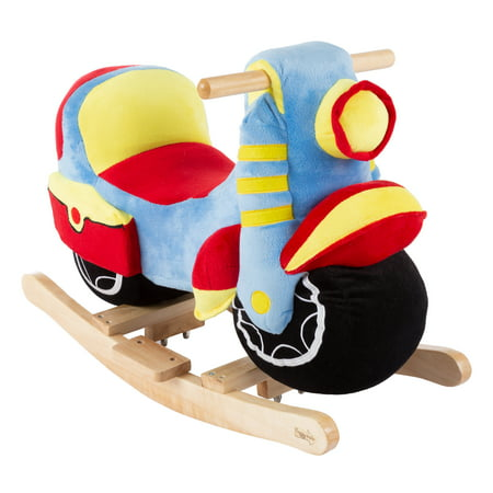 Rocking Motorcycle Toy - Kids Plush Stuffed Ride On Wooden Rocker and Handles - Fun for Boys, Girls, Toddlers by Happy Trails](Rocker Girls)