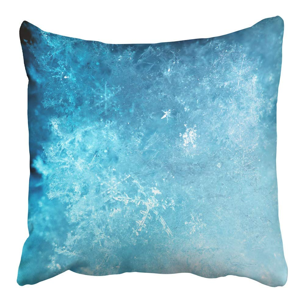 CMFUN Blue Crystal Abstract Ice Snow Flake Winter Cold Snowflake Frosty Frost Weather Pillowcase Cushion Cover 16x16 inch
