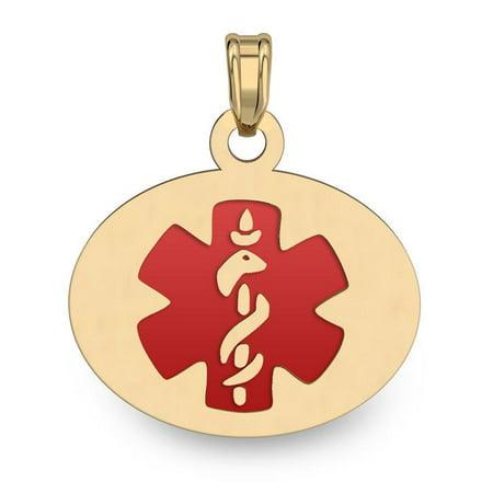 14K Filled Gold OVAL Medical Pendant W/ RED ENAMEL - 1/2 Inch X 3/4 Inch 1/2' Enamel Jewelry Pendant