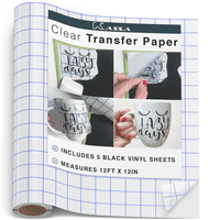 """Kassa Vinyl Transfer Tape Roll (12"""" x 12 Feet) - 5 Vinyls Sheets Included - Clear Vinyl Transfer Paper for Cricut & Silhouette Cameo (w/ Perfect Alignment Grid) - Medium Tack"""
