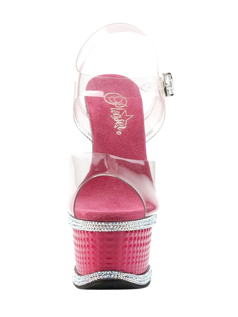 6 6 6 1 / 2 et # 34; talon, 2 1 / 2  pf cheville sandale w / rs détail - plc / h. rose, 11 230078
