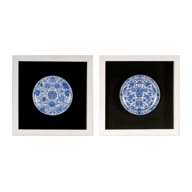 Blue And White Plate Shadow Boxes Wall Decor 2 Piece Set Walmart Com Walmart Com