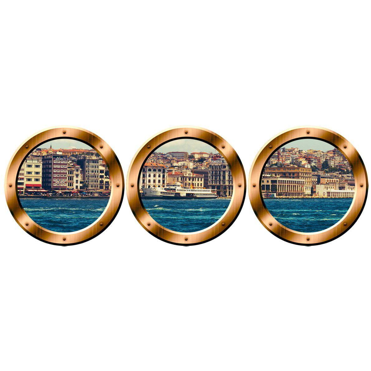 "VWAQ City Skyline Wall Murals, Porthole Cityscape Stickers - Peel & Stick Decals - VWAQ-SPW5 (24"" Diameter, Bronze)"