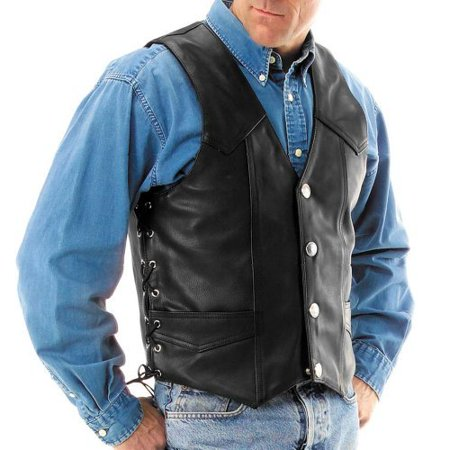 River Road Wyoming Nickel Leather Motorcycle Vest Large Black 093872