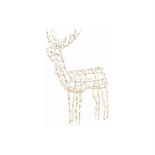 """48"""" Winter Frost Pure White LED Standing Buck Deer Christmas Yard Art Decoration"""