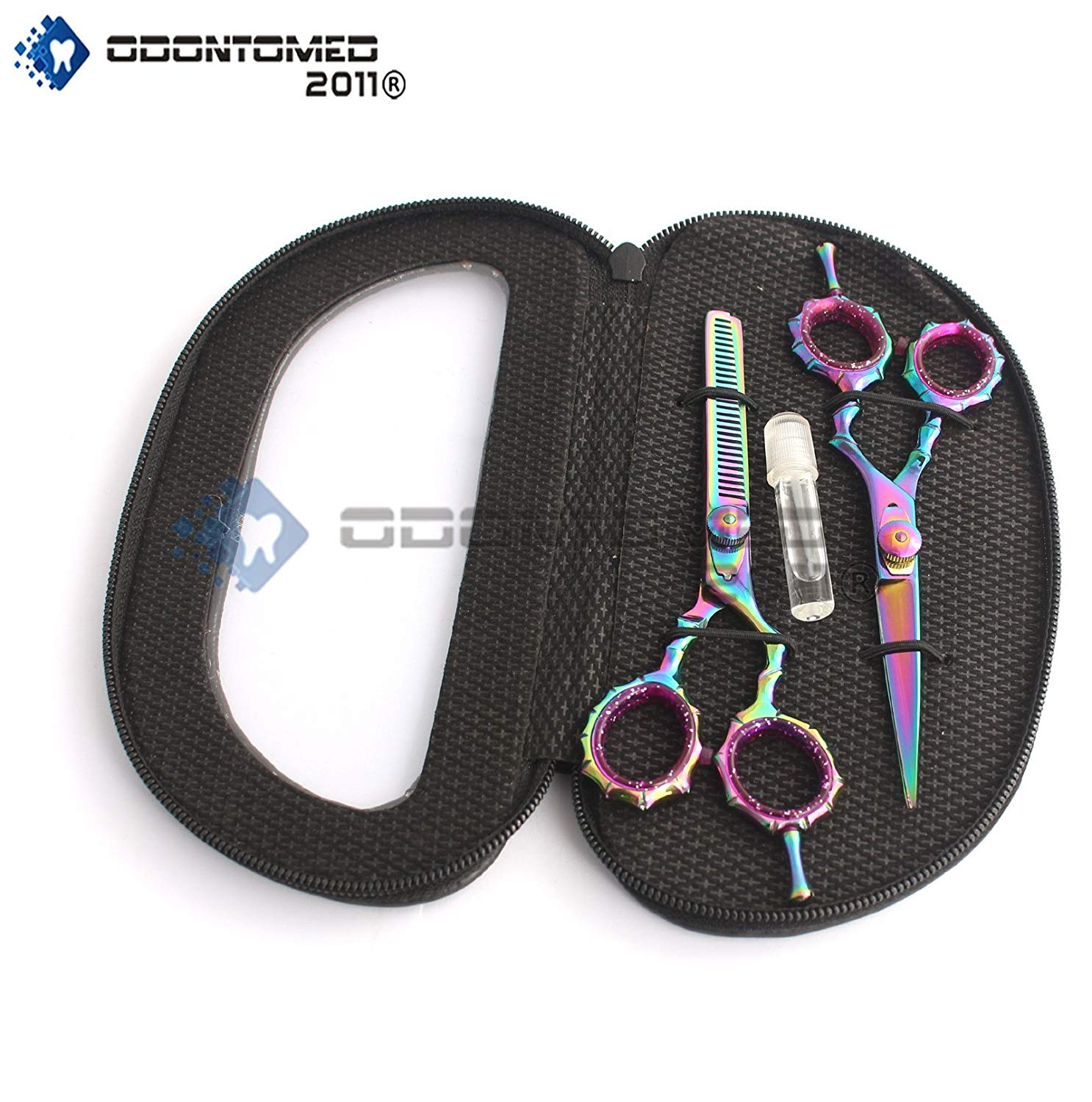 Odontomed2011 Od2011-d-1533 New Multicolor Professional Razor Edge Titanium Coated Hairdressing Scissors And Hair Thinning Scissors/shear Set 5.5 Inch (14cm)+ Free Pouch & Scissor Lubricant