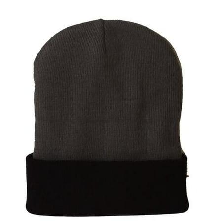 - TopHeadwear's Winter Cuffed Beanie Cap Two Toned - Grey Black