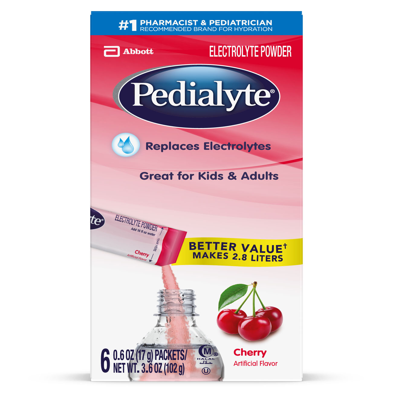 Pedialyte Electrolyte Powder Cherry 0.6 oz Powder Packs (Pack of 36)