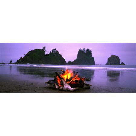 Bonfire On The Beach Point Of The Arches Shi-Shi Beach Washington State USA Canvas Art - Panoramic Images (27 x