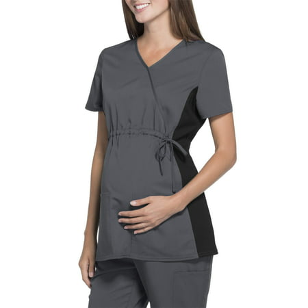 Scrubstar Women's Maternity Stretch Rayon Mock Wrap Scrub Top
