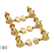 Pack of 6 Guitar String Tuning Pegs Locking Tuners Machine Heads Knobs 3L3R for Acoustic Electric Guitars Replacement Accessories with Mounting Screws and Ferrules Gold