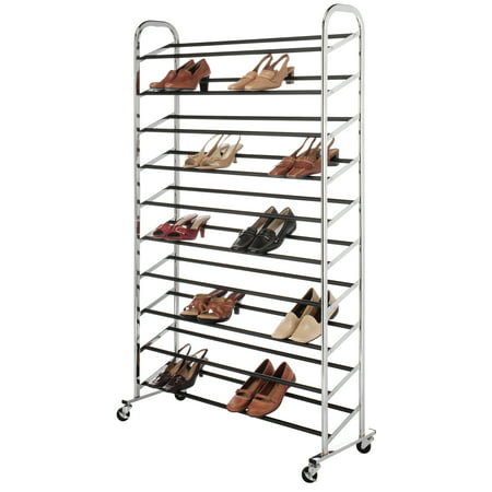 Whitmor 50-Pair Shoe Tower with Wheels Chrome