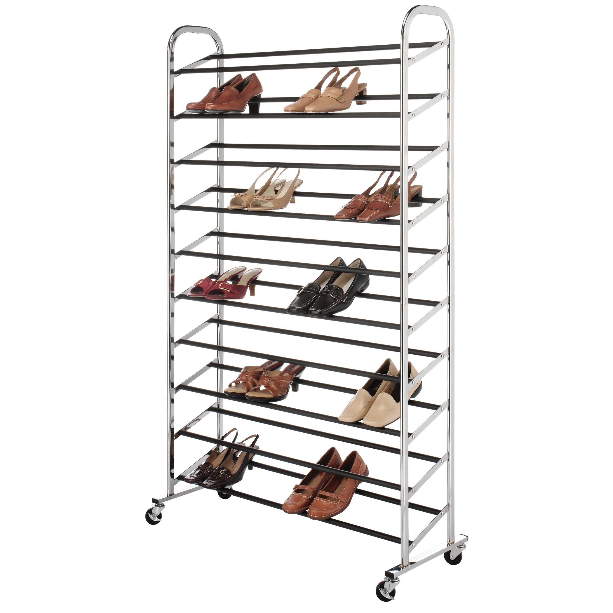 Whitmor 50 Pair Shoe Tower With Wheels Chrome