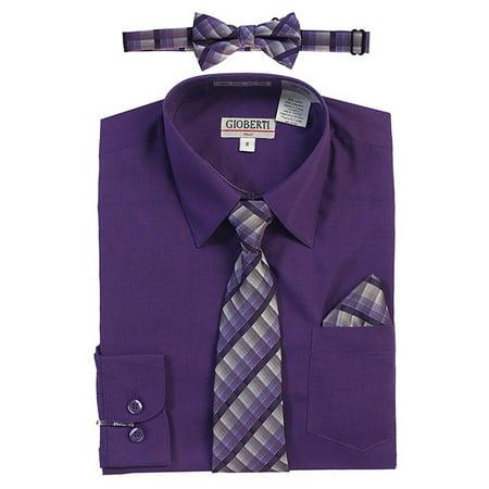Gioberti Little Boys Dark Purple Tie Bow Tie Pocket Dress Shirt 4 Pc -