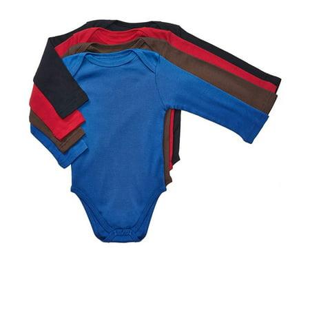 Long Sleeve Cotton Onesie (Leveret 4 Pack Long Sleeve Bodysuit Boys 100% Cotton Solid 3-6 Months)