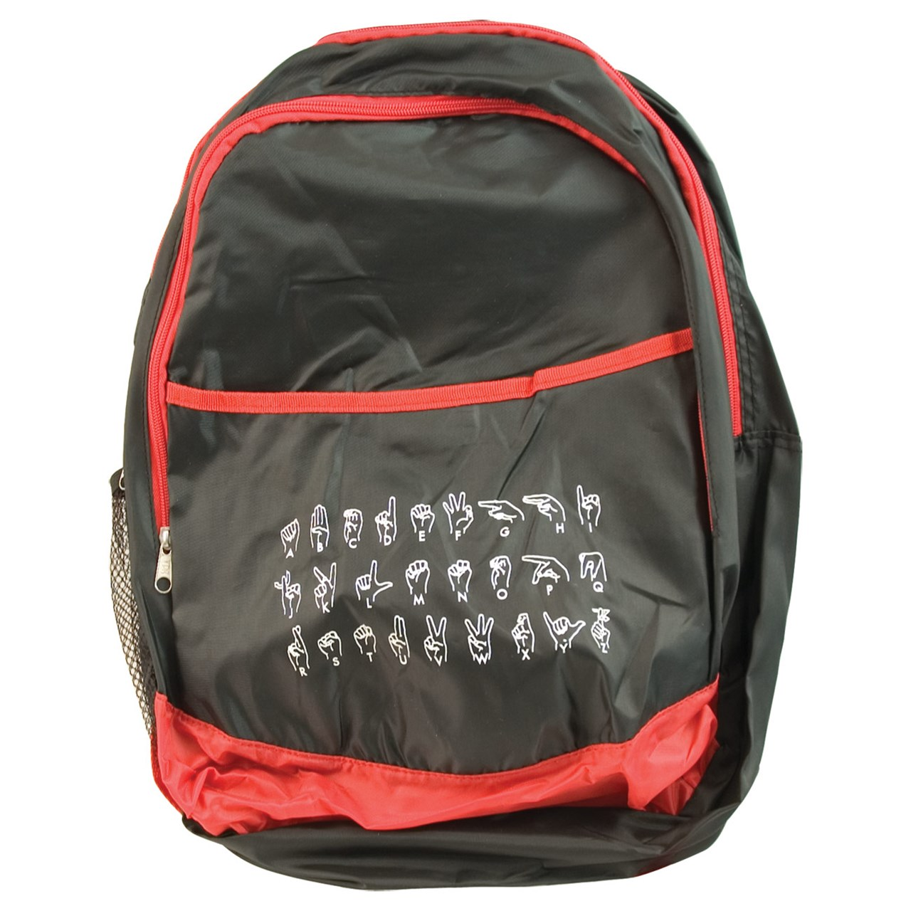 Sign Language ABC Backpack - Black with Red Trim