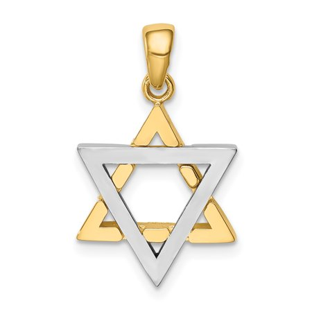 14k Two Tone Yellow Gold 3 D Jewish Jewelry Star Of David Charm Necklace Pendant Religious Judaica Gifts For Women For - 14k Gold Star Of David Necklace