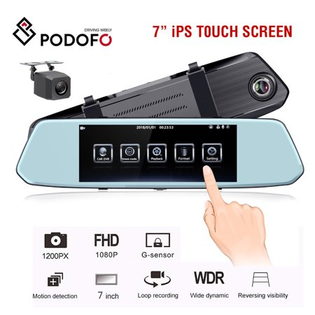 "Car DVR 7"" IPS Touch screen Night vision Car Camera Stream Media Rear View Mirror Full HD 1080P Dual Lens Dash Cam Registrar WDR Night Vision with Night vision Backup Camera"