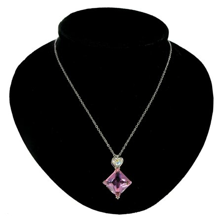 - CZ Heart Cubic Zirconia Big Pink Crystal Jewel Square Pendant Necklace
