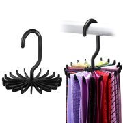 "Tie Rack for Closet, IPOW Tie Hang Rack Belt Hook Scarf Holder for Closet Organizers, 360 Degree Rotating 20 Hooks, 2 Pack, 4.85"", Black"