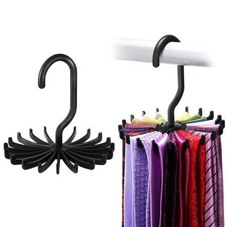 Ipow Upgraded Twirl Slim Tie Rack Hanger Ties Belt Hanging Holder Scarf Organizer Hook For Mens Closet Storage 4 85 Black 2 Pack