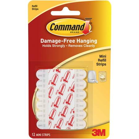 Command Decorating Clip Refill Strips, White, Mini, 12 Strips/Pack ...
