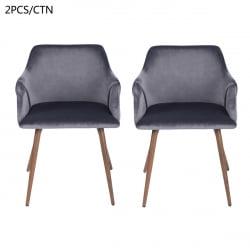 FurnitureR Dining Room Upholstered arm chair (2-piece set),GREY - image 4 de 8