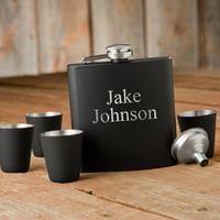 Personalized Matte Black Flask & Shot Glass Gift Box Set