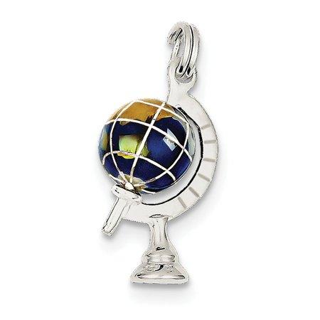Enameled Globe Charm - Silver Polished Blue Enameled 3-D Globe Charm