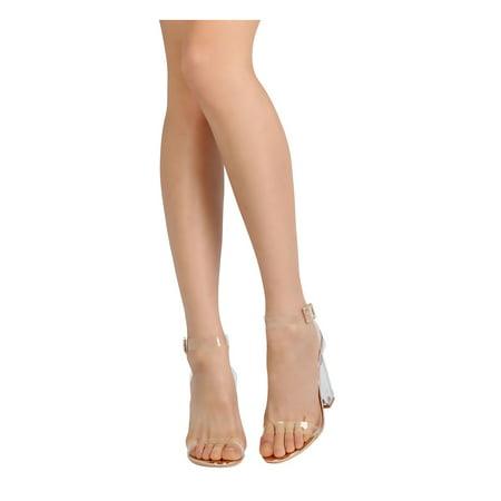 58633e62120 Cape Robbin - New Women Cape Robbin Maria-2 Metallic Lucite Ankle Strap  Square Heel Sandal - Walmart.com