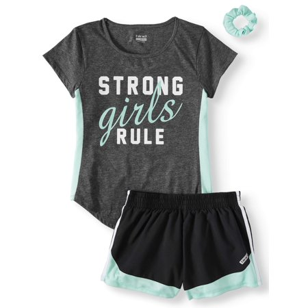 Colorblock Graphic Tee and Short, 2-Piece Active Set (Little Girls & Big Girls)