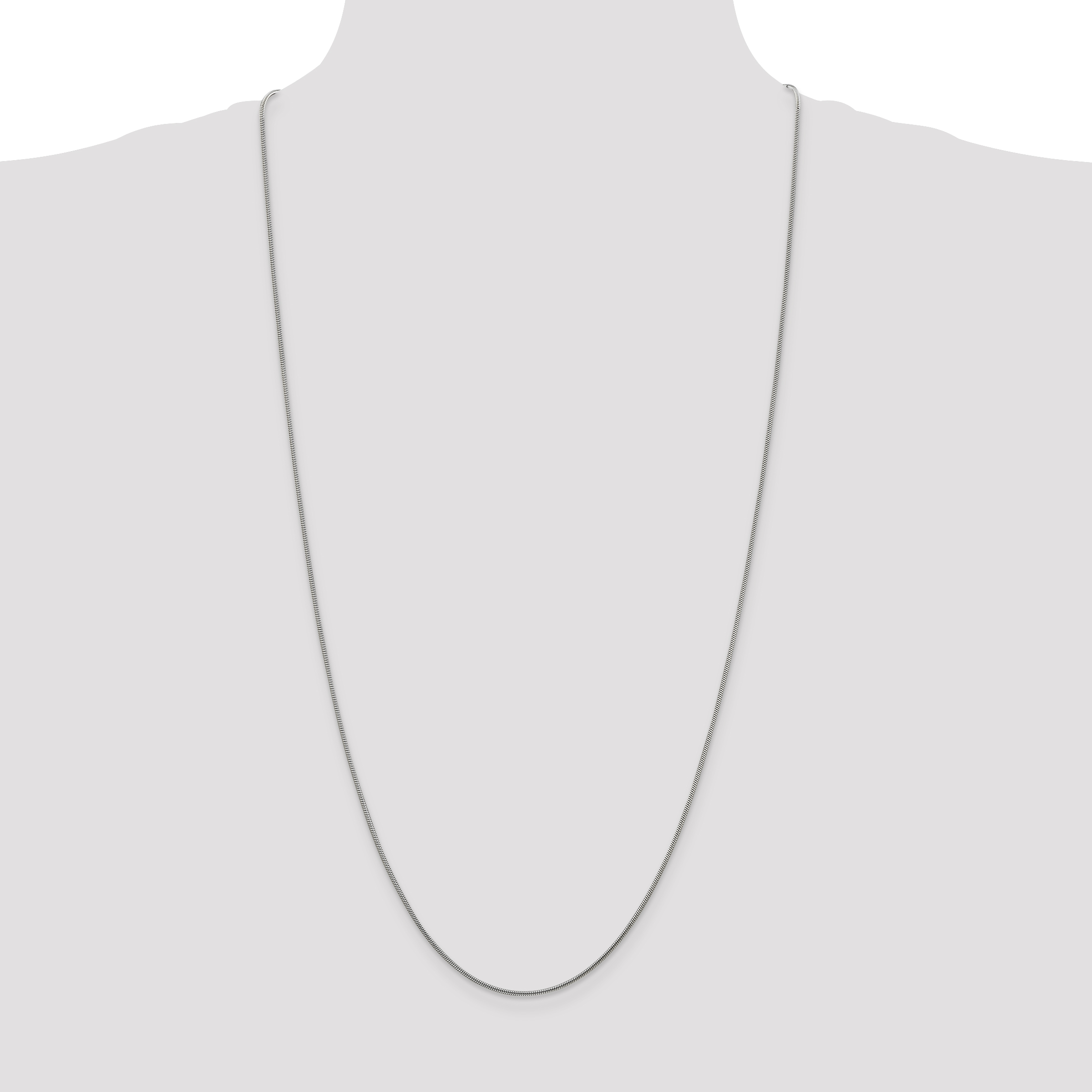 925 Sterling Silver 1.2mm Round Snake Chain Necklace 30 Inch Pendant Charm Fine Jewelry Gifts For Women For Her - image 1 de 5