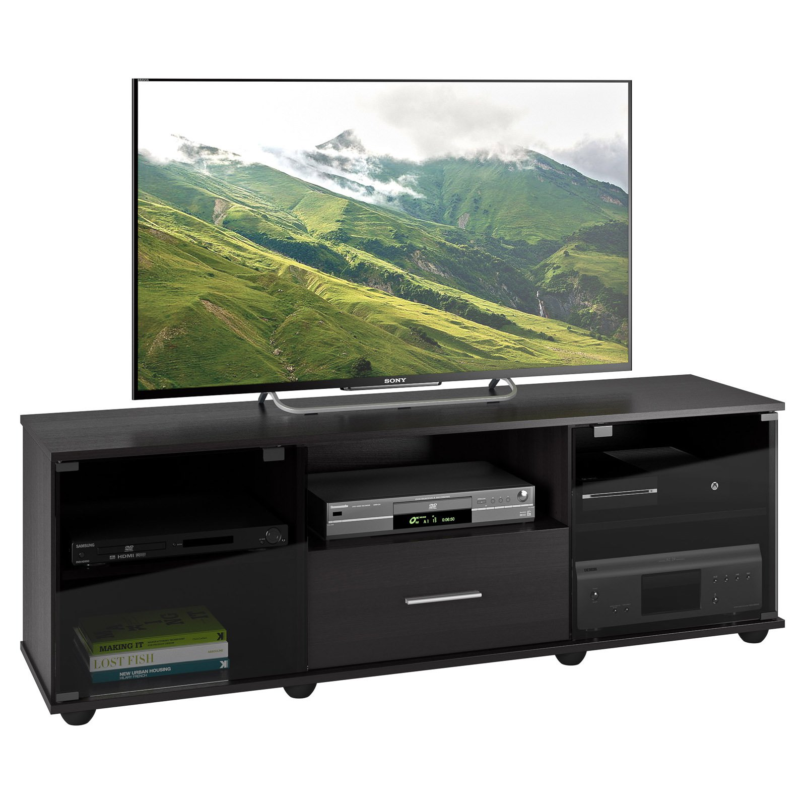 """Fernbrook TV Stand in Black Faux Wood Grain Finish for TVs up to 70"""""""